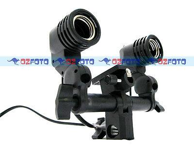 Twin Lamp Bulb Holder E27 Socket Flash Umbrella Bracket New AU POWER PLUG Local