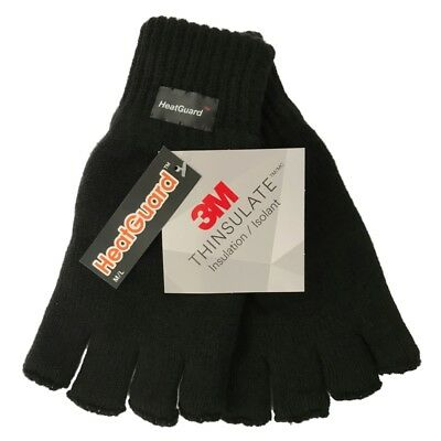 Mens 3M Thinsulate™ Insulation Fingerless Knitted Thermal Heat Guard™ Gloves