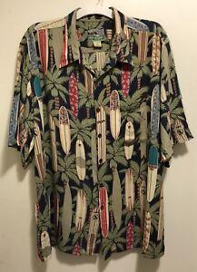 Vintage-Reyn-Spooner-Surf-Boards-Palm-Trees-Hawaiian-Aloha-Camp-Shirt-Men-s-XL
