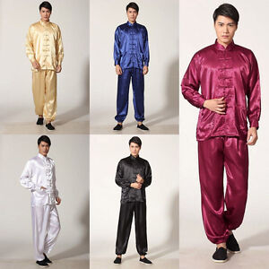 Image is loading Chinese-Style-Men-Sleepwear-Pajamas-Tai-Chi-Perform- 11b0410b8