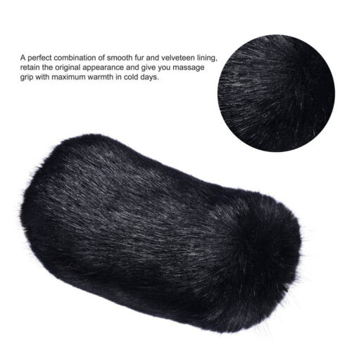 1Set Black Long Furry Steering Wheel Cover Shifter Cover and Parking Brake Cover