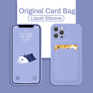 For iPhone 12 Pro Max 11 XS XR X 7 8 Card Holder Liquid Silicone Soft Case Cover
