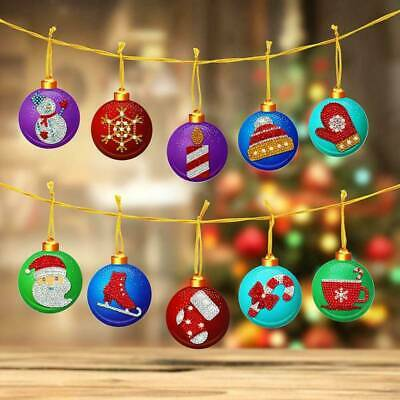 DIY Christmas Tree Hanging Pendant Full Drills Xmas Ornament Gift Box Decor 10PC