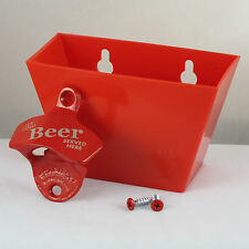 Red ICE COLD BEER SERVED HERE Combo Starr X Wall Mount Bottle Opener / Catcher