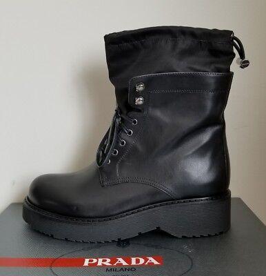fc967fbcbb3 PRADA SPORT BLACK LOGO DRAWSTRING MOTO LACE UP COMBAT BOOTS EU 40.5 I LOVE  SHOES | eBay