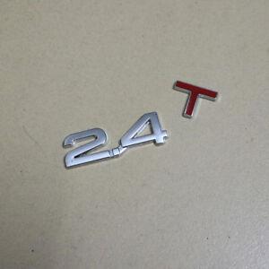 1PC Red Chrome 2.4T Metal Badge Emblem Sticker Turbocharged Engine Car Motors 3D