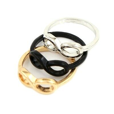 "Vintage Jewelry Gold Silver Black Plated Infinity Symbol ""8""  Finger Ring Size 7"