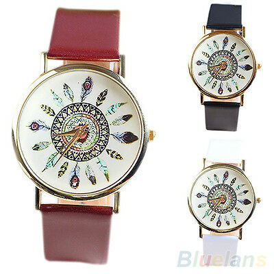 Womens Vintage Feather Dial Leather Band Quartz Analog Unique Wrist Watches Gift