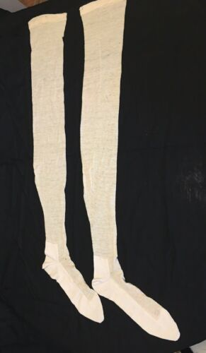 Antique Victorian Edwardian Silk & Knit Stockings