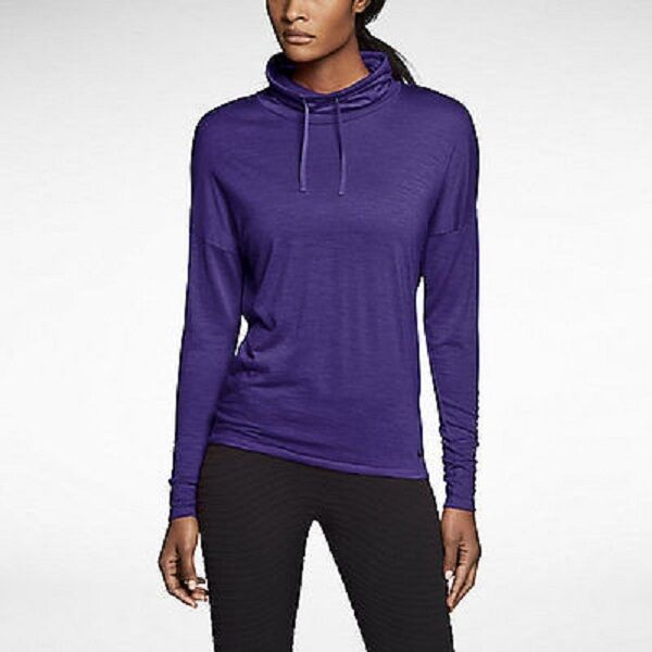 eedff6883755 Nike 686965 Women s Wool Crew Zip Cover-up Long Sleeve Top Training Shirt   547 Court Purple S