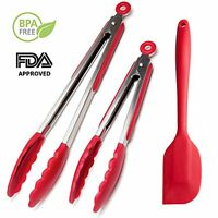 Professional Sturdy Kitchen Silicone Tongs (red, 9 & 12-inch, Set Of 2) + Silico