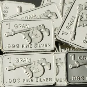 Lot Lot Of 30 X 1 Gram 999 Fine Silver Bar Thompson