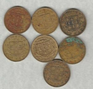 SEVEN-JAMAICA-HALF-PENNIES-1942-TO-1962-IN-GOOD-FINE-OR-BETTER-CONDITION
