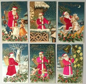 Lot-of-6-Antique-SILK-SANTA-Claus-with-Children-Angels-Postcards-Beautiful-Set