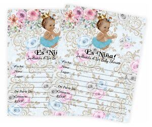 Girl-Baby-Shower-Invitaciones-Para-Nina-Espanol-Invitations-Princesa-Nina-QTY-20