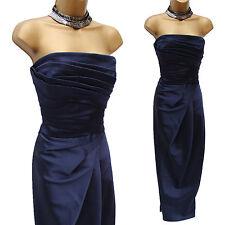 KAREN MILLEN Navy Satin Cocktail Gala Wedding Long Ballgown Maxi Dress 12 UK
