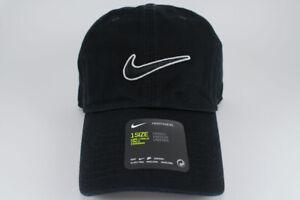 quality design 19cea 20fd8 Image is loading NIKE-SWOOSH-HERITAGE-86-ADJUSTABLE-CAP-HAT-BLACK-