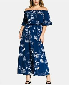 129-City-Chic-Women-039-s-Plus-20W-24W-Floral-Garden-Maxi-Off-Shoulder-Dress