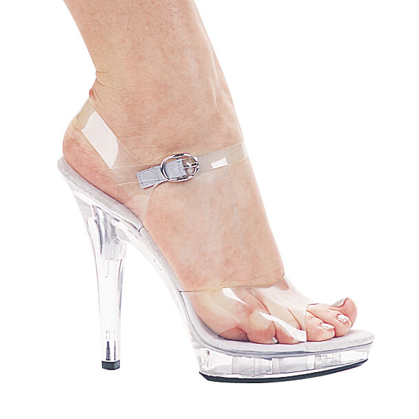 7a4448bc5a1 Ellie M-brook Platform 5 Inch Spike High HEELS Strappy Sandals Shoes Clear  9 for sale online