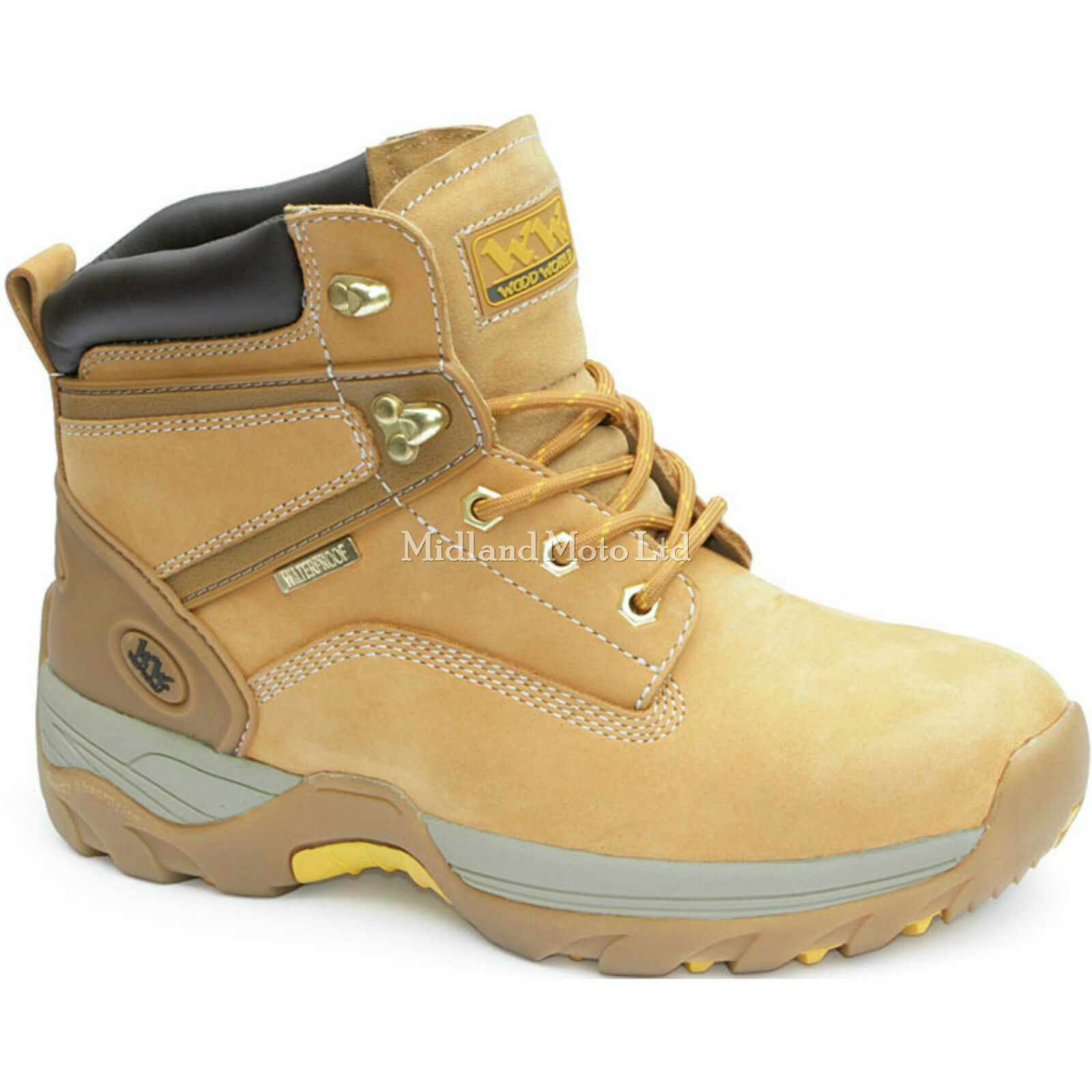 Wood World Steel Toe Cap, Waterproof Honey Nubuck Boots, WW11 WW11Hi-P