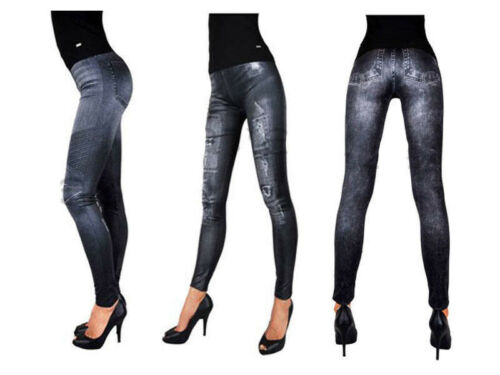 Leggings LOOK JEANS XS-XXL Jeggings Pantaloni Tubo Nero Nuovo