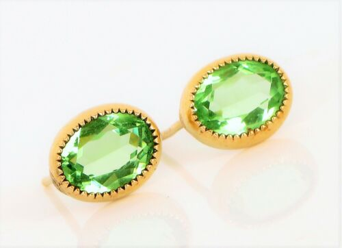 14K gold plated natural stones August Birthstone olive green stud drop earrings hoop birthday gift