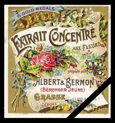 Vintage Perfume Label: French Art Nouveau, Aux Fleurs - Albert & Bermon, Grasse