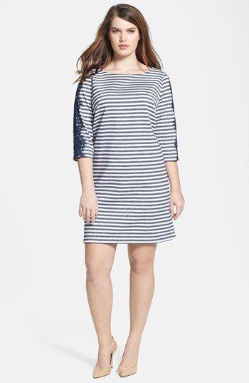 Eliza J bluee White Stripe Shift dress Lace 3 4 sleeve gold Exposed Zipper M 8 P