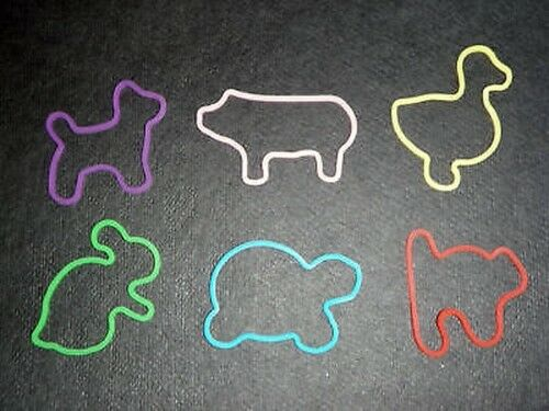 24 Silly Animal Farm Theme Shaped Rubber Bands Bandz!