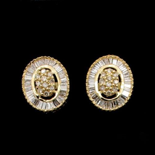 1 2 Ct Round & Baguette Shape Genuine Diamond Cluster Earrings 10K Yellow gold