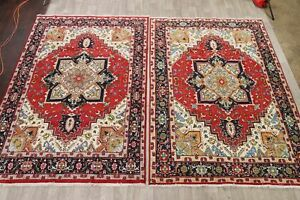 Pair of 2 Geometric Traditional Hand-Knotted Area Rug Wool Oriental Carpet 7x10
