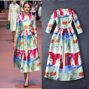 New Spring Autumn Fashion Elegant Costume Woman Banquet Formal Dress Runway Hot
