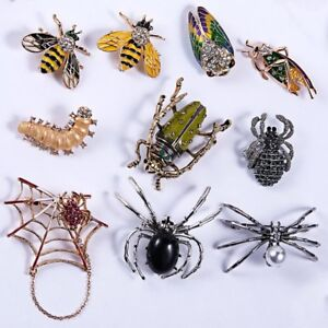 Charm-Animal-Insect-Bee-Spider-Pearl-Crystal-Brooch-Pin-Women-Mens-Jewellery