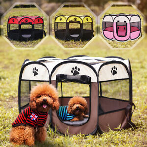 Folding-Pet-Playpen-Puppy-Dog-Cat-Play-Pen-Crate-Cage-Enclosure-Tent-Kennels-S