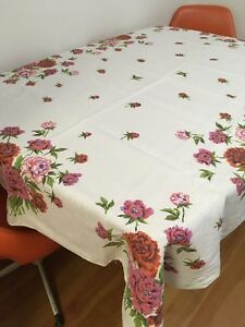 Prime Details About 50S 60S Vintage Printed Table Cloth 64 X 55 Rectangle Linen Floral Mid Century Download Free Architecture Designs Scobabritishbridgeorg