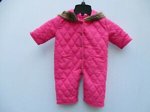 473d3da45 AMERICAN WIDGEON Girls Pink quilted Hoodie Jumpsuit with faux fur ...