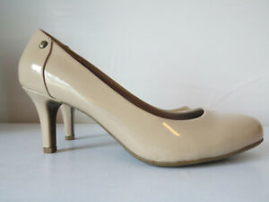 SHINY-Patent-Beige-Taupe-Brown-PUMPS-Heels-8-5-FIT-MORE-LIKE-9-high-shoes