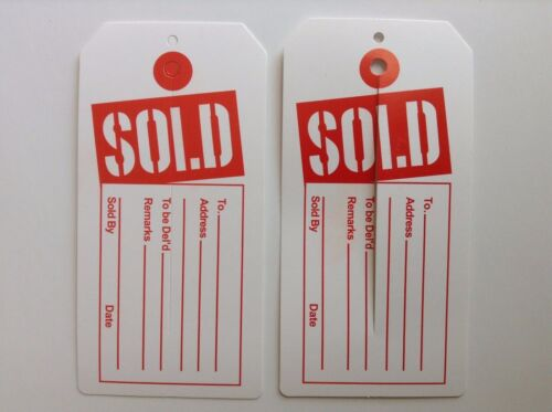 100 pcs Red and White Sold Tags with Center Slit Merchandise Price Tags