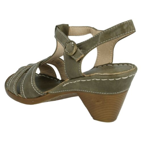 LADIES SPOT ON MID HEEL OPEN TOE ANKLE STRAP BUCKLE SUMMER SANDALS SHOES F1R0147