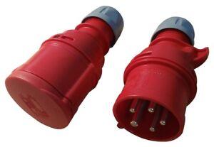 CEE-Drehstrom-380V-400V-16A-Stecker-und-Kupplung-IP44-5-polig-6h