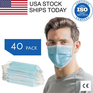 40 PCS Face Mask 3-Ply Earloop Surgical Dental Disposable. CE Certified