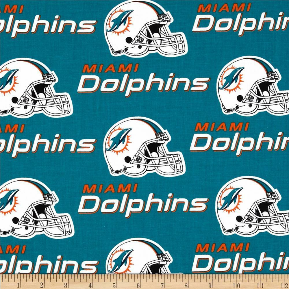 NFL MIAMI DOLPHINS FOOTBALL CURTAIN SET  58  WIDE X 63 LONG