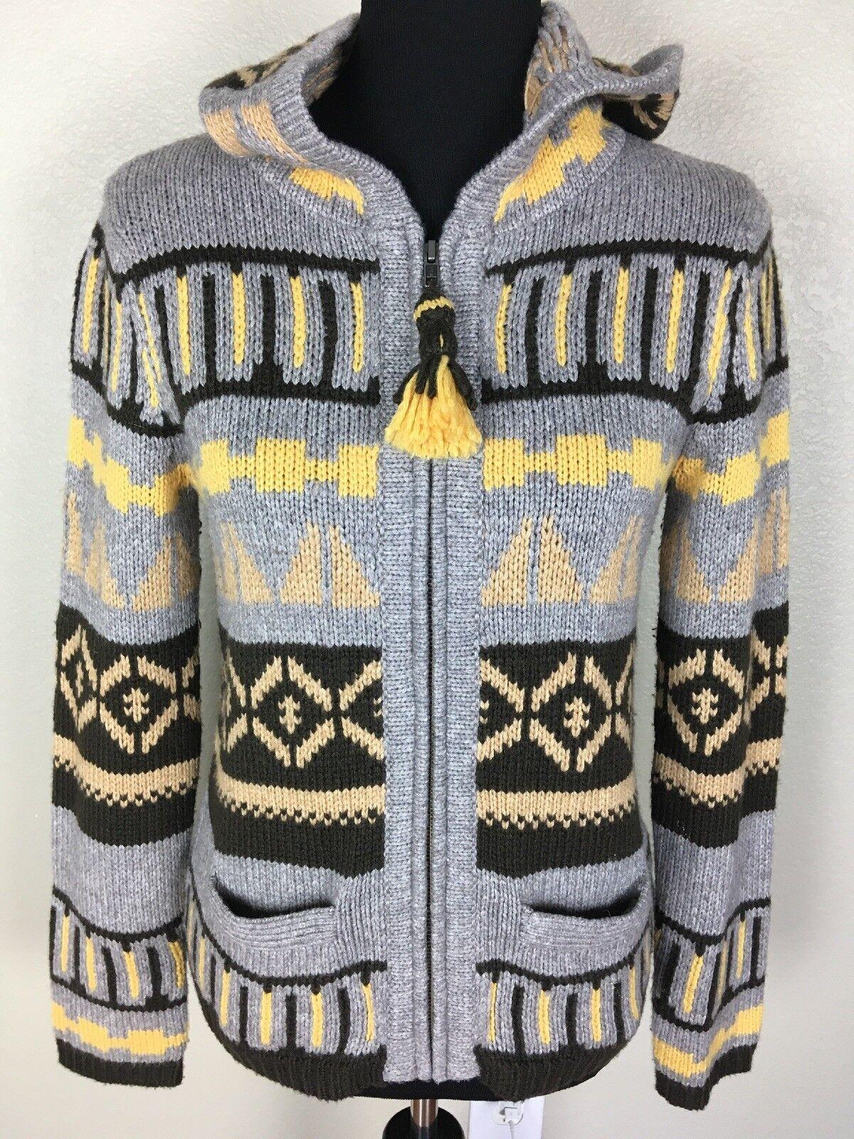 Anthropologie SPARROW Women's M Nordic Hoodie Zip Sweater Fringe Aztec Multi EUC