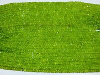3-4 MM NATURAL OLIVINE PERIDOT FACETED RONDELLE BEADS HOT GEMSTONE 13INCH STRAND