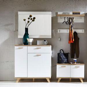 Intelligent Garderobe 5-tlg Garderobenschrank Paneel Spiegel Schuhkommode Bank Eiche Cabinets & Cupboards