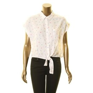 RAILS-NEW-Women-039-s-Amelia-Tie-Front-Watercolor-Star-Linen-Blend-Shirt-Top-TEDO