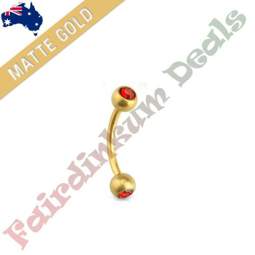 316 Surgical Steel Matte Gold Ion Plated Curved Eyebrow Bar with Red Gem Balls