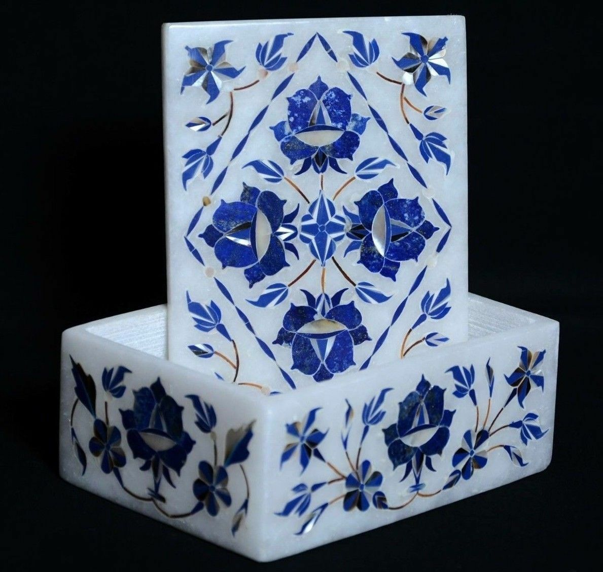 Marble jewelry ring Box semi precious stone floral Inlay Home room decors