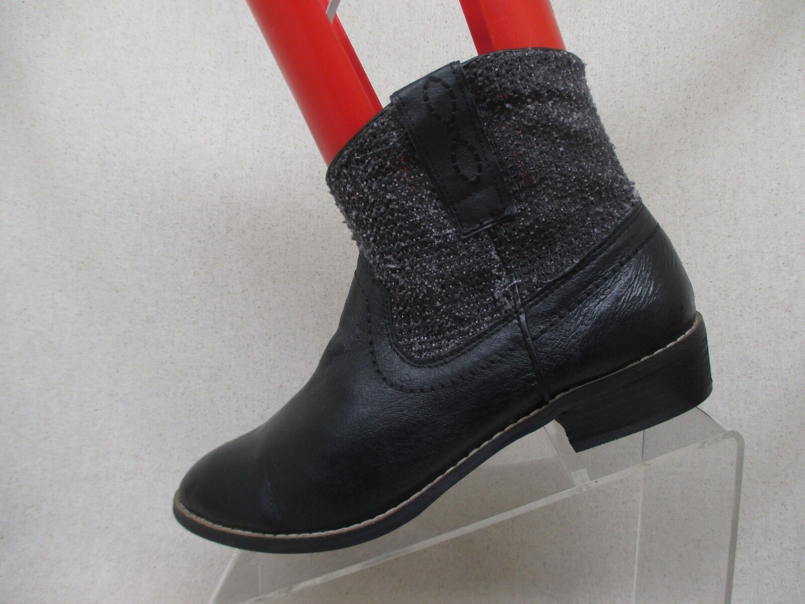 Steve Madden Black Leather Zip Heeled Ankle Boots Size 9 M Style P-Elle