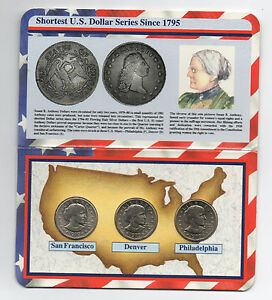1979 1st Year Mint Set of 3 Susan B Anthony Dollars in